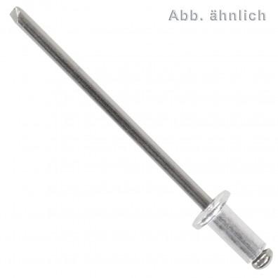 500 Blindnieten Aluminium - Edelstahl A2 - 4x10 mm - Flachkopf - DIN 7337