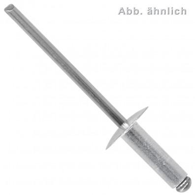 250 Blindnieten 5 x 12 mm - Aluminium - Edelstahl A2 Dorn – 14 mm Flachkopf