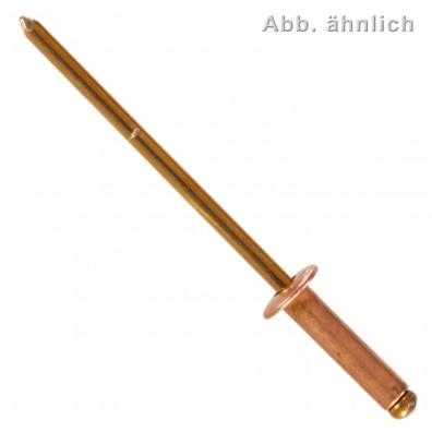 500 Blindnieten 4 x 12 mm - Kupfer - Bronze Dorn - Flachkopf