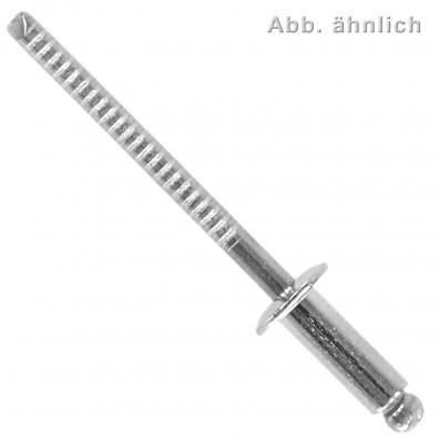 250 Blindnieten 5 x 20 mm - Edelstahl A4 - Edelstahl A4 Dorn - Flachkopf