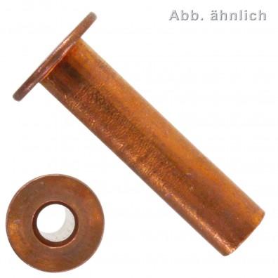 100 Hohlnieten 5x15 mm - für Brems- und Kupplungsbeläge - DIN 7338 - Kupfer