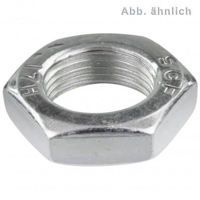 100 Sechskantmuttern niedrige Form M18 - DIN 936 - 1,5 mm Feingewinde - verzinkt