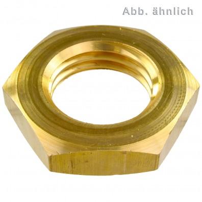 100 Sechskantmuttern DIN 936 niedrige Form Messing M12