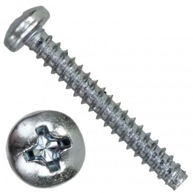100 Linsen-Blechschrauben 2,9x9,5 mm, Form F mit Zapfen, PH1, DIN 7981, verzinkt