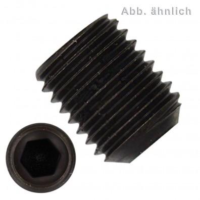 100 Gewindestifte M12x12mm - DIN 916 - Ringschneide - 1,5mm Feingewinde - blank