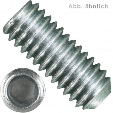 100 Gewindestifte M8 x 40mm - Ringschneide,Innensechskant, verzinkt 45H,DIN 916
