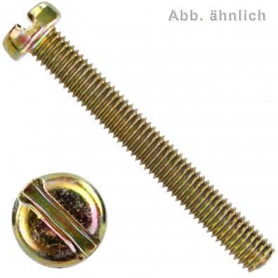 2000 Zylinderschrauben mit Schlitz DIN 84 4.8 gelb verzinkt M3 x 25 mm