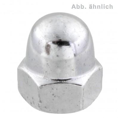 100 Hutmuttern DIN 1587 Messing galvanisch verchromt M5