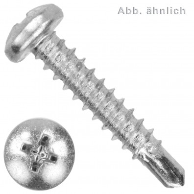 1000 Bohrschrauben Linsenkopf DIN 7504 Stahl Form N-H 3,5x 9,5 verzinkt