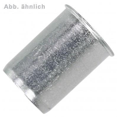 250 Blindnietmuttern Aluminium Rundschaft offen kleiner Senkkopf M6 0,5-3,0