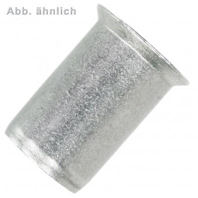 100 Blindnietmuttern Aluminiumlegierung Rundschaft offen Flachkopf M10 4,0-6,5
