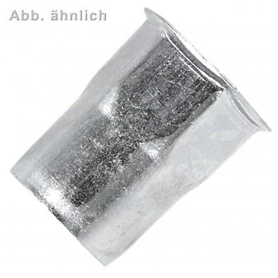 100 Blindnietmuttern M8 - 0,5-3,0 mm - verzinkt - offen - Sechskant - Senkkopf