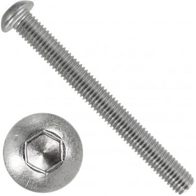 100 Linsenschrauben mit Innensechskant M8 x 75mm - ISO 7380-1 - Edelstahl A4