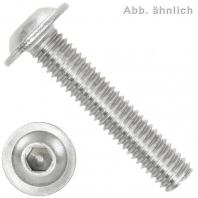 100 Linsenschrauben mit Flansch M8 x 60mm - ISO 7380-2 - ISK - Edelstahl A2