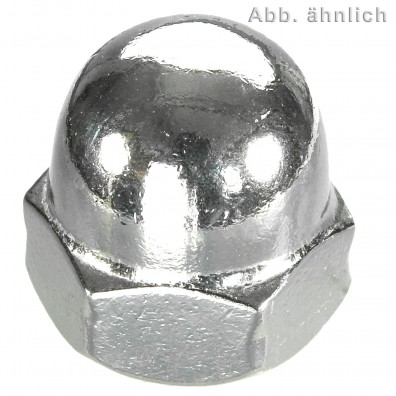 50 Hutmuttern DIN 1587 - M14 - Edelstahl A2 - 1,5 mm Feingewinde