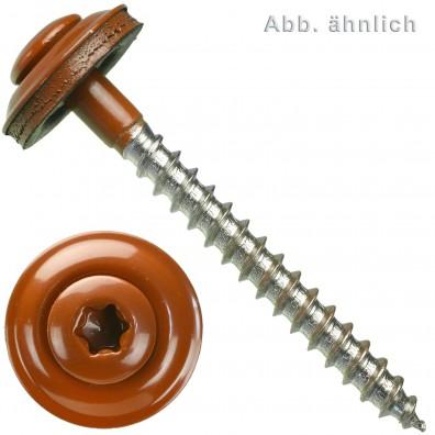 Spenglerschrauben - Scheibendurchmesser 15 mm - Torx (TX) -  Edelstahl A2 - Kupferbraun RAL 8004