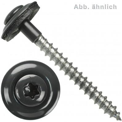 Spenglerschrauben - Scheibendurchmesser 15 mm - Torx (TX) -  Edelstahl A2 - Anthrazitgrau RAL 7016