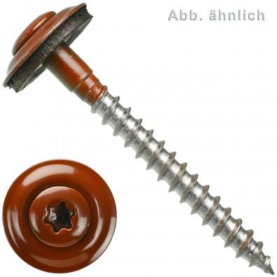 Spenglerschrauben - Scheibendurchmesser 15 mm - Torx (TX) - Edelstahl A2 - Oxidrot RAL 3009