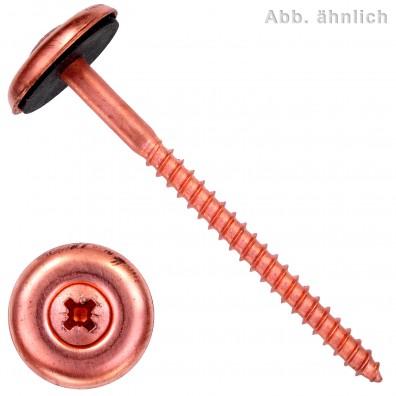 Spenglerschrauben - Scheibendurchmesser 20mm (D20) - Pozidriv(PZ) - Edelstahl A2 verkupfert - 3 teilig