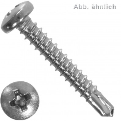 1000 Bohrschrauben Form M DIN 7504 Edelstahl A2 Philips Linsenkopf 4,2x38