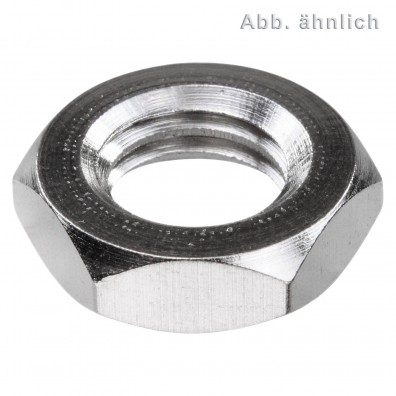 50 Sechskantmuttern M20 - SW30 - niedrig, Form B - Messing vernickelt - DIN 439