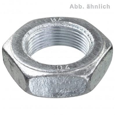 100 Sechskantmuttern M12 - Feingew. 1,25mm - niedrig,Form B - verzinkt - DIN 439