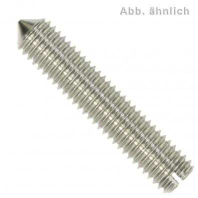 200 Gewindestifte mit Schlitz und Spitze DIN 553 Edelstahl A2 M4x12