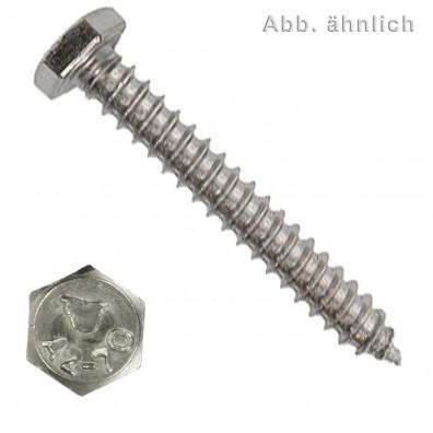 1000 Blechschrauben DIN 7976 - 3,9x16 mm - Sechskant - SW7 - Edelstahl A2