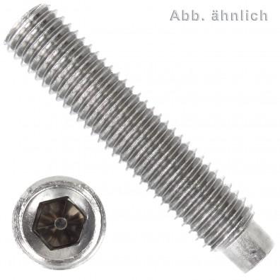 50 Gewindestifte M4  x 10 mm - DIN 915 - Zapfen - SW0,9 - Edelstahl A1-A2