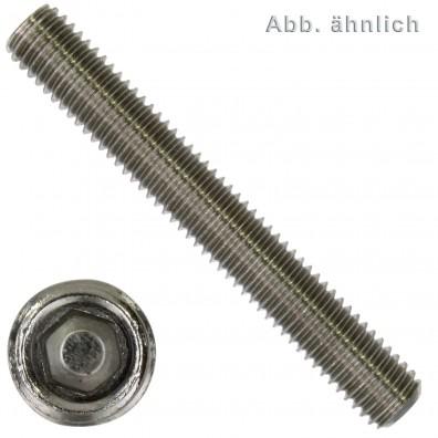 50 Gewindestifte M3 x 8 mm - DIN 913 - Kegelkuppe - SW2 - Edelstahl A4