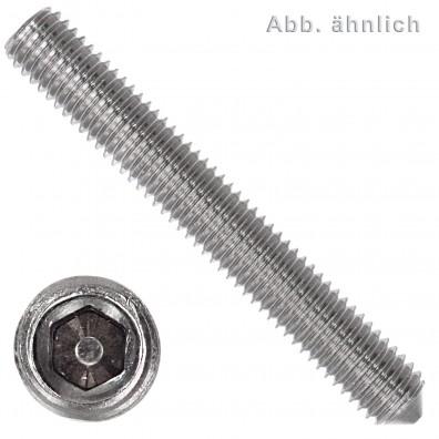 50 Gewindestifte M4 x  5 mm - DIN 914 - Spitze - SW2 - Edelstahl A1-A2