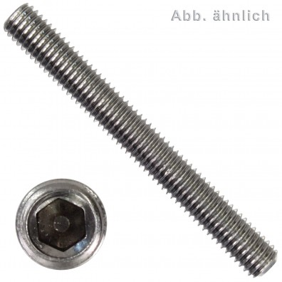 200 Gewindestifte M6 x 40 mm - ISO 4029 (DIN 916) - Ringschneide - SW3 - Edelstahl A1-A2