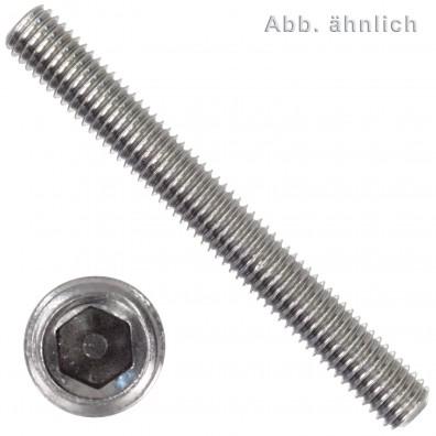 50 Gewindestifte M4 x 6mm - DIN 916 - Ringschneide - SW2 - Edelstahl A4