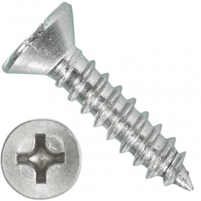 1000 Blechschrauben DIN 7982 - 2,2x9,5 mm - Senkkopf - Phillips - Edelstahl A4