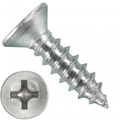 1000 Blechschrauben DIN 7982 - 2,9x13 mm - Senkkopf - Phillips - Edelstahl A4