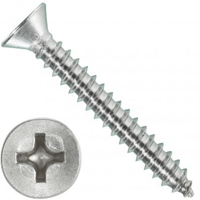 1000 Blechschrauben DIN 7982 - 2,9x22 mm - Senkkopf - Phillips - Edelstahl A4