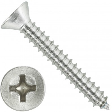 500 Blechschrauben DIN 7982 - 5,5x38 mm - Senkkopf - Phillips - Edelstahl A4
