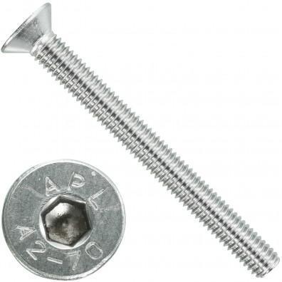 100 Senkschrauben M 6 x 60 mm  - ISO 10642 - Innensechskant - Edelstahl A2