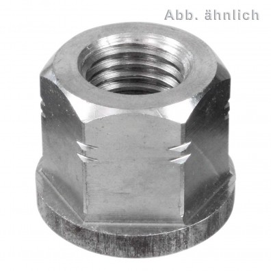 10 Sechskantmuttern M20 - DIN 6331 - mit Bund - Edelstahl A4