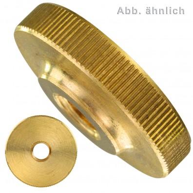 Rändelmuttern - DIN 467 - niedrige Form - Messing