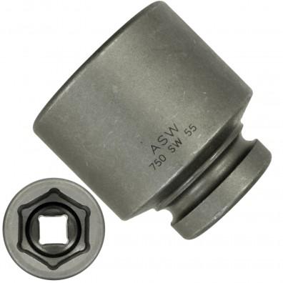 """1 ASW Steckschlüssel, Antrieb 1"""" H 25 - Innensechskant,Länge 84 mm, SW 55"""