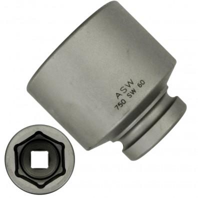 """1 ASW Steckschlüssel, Antrieb 1"""" H 25 - Innensechskant,Länge 87 mm, SW 60"""