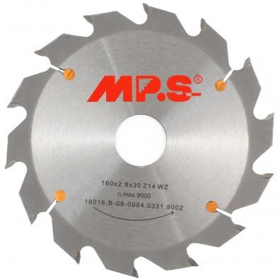 1 MPS HM bestücktes Handkreissägeblatt mit Reduzierung, 14 Zähne, 160x2,8x30mm