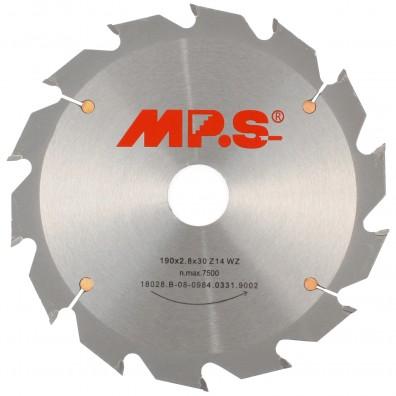 1 MPS HM bestücktes Handkreissägeblatt mit Reduzierung, 14 Zähne, 190x2,8x30mm