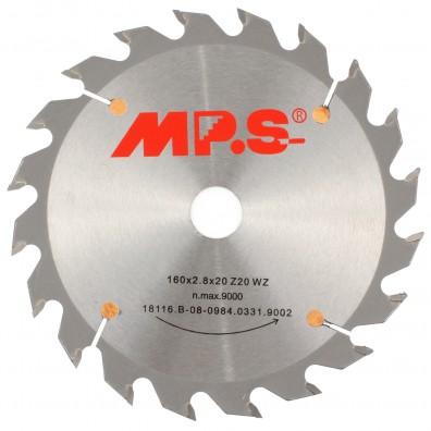 1 MPS HM bestücktes Handkreissägeblatt mit Reduzierung, 20 Zähne, 160x2,8x20mm