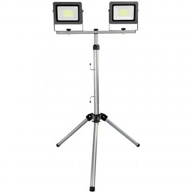 1 LED-Doppelarbeitsleuchte mit Stativ, Flare 2x30W, IP65m 2x2500 Lumen