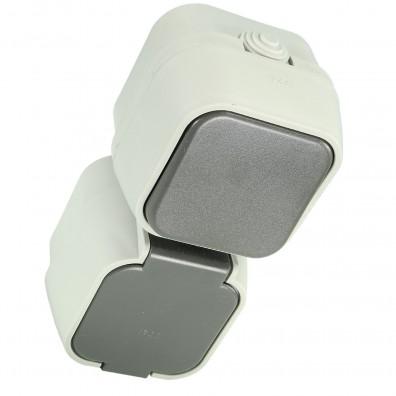 1 AP-Schalter-Steckdosenkombi senkr. Feuchtraum, IP 44, Grau, Klappdeckel