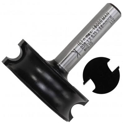 1 Rundfräser Konvex für halbrunde Leisten, 3,18 mm Radius, 38,1 mm