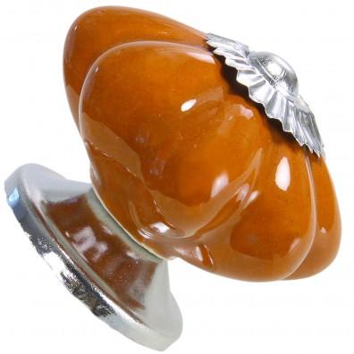 1 HSI Möbelknopf - Blütenform Flower Keramik orangebraun 40mm