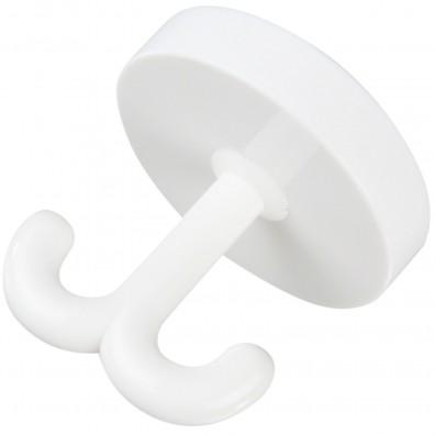 1 HSI Garderoben-Drehhaken mit 2 Haken Kunststoff weiß 50x50mm
